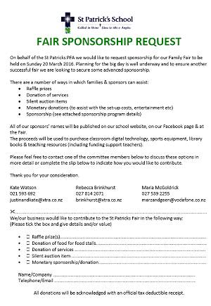 Sponsorship Form  St PatrickS School Christchurch