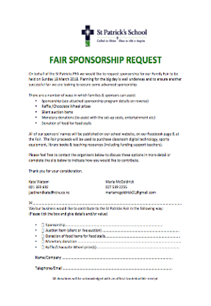 Fair Sponsorship Request